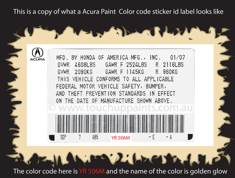 Acura paint color number code sticker label
